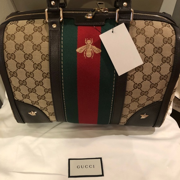 Gucci Web Boston Bag with bee symbol Boutique